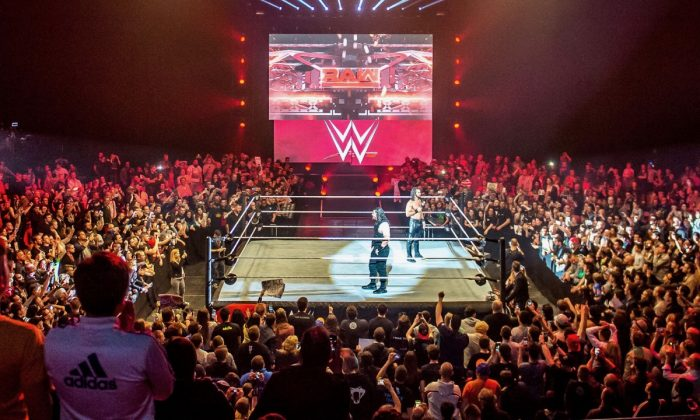 A WWE wrestling match at Zenith Arena On May 09, 2017. (Philippe Huguen/AFP/Getty Images)