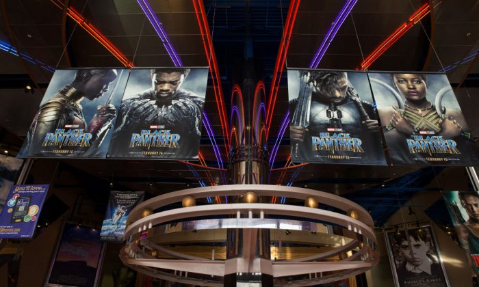 "An advertisement for ""Black Panther"" at Edwards Houston Marq'e Stadium 23 & IMAX on Feb. 15, 2018 in Houston, Texas. (Bob Levey/Getty Images for IMAX)"