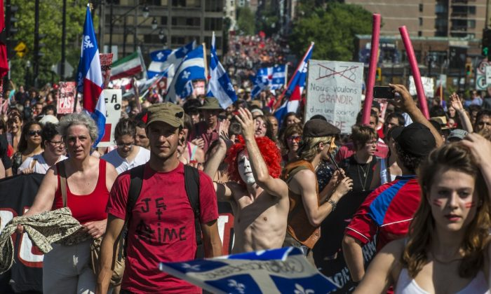 Students protest a hike in tuition fees on June 22, 2012 in Montreal, Canada. (Rogerio Barbosa/AFP/GettyImages)
