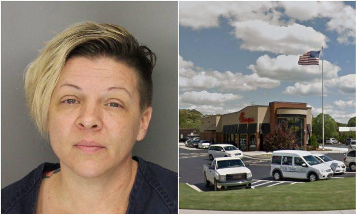 L: Tara Marie Solem. (Cobb County Sheriff's Office); R: Chick-fil-A restaurant on MacLand Crossing Circle in Marietta, Ga. (Screenshot via Google Street View)