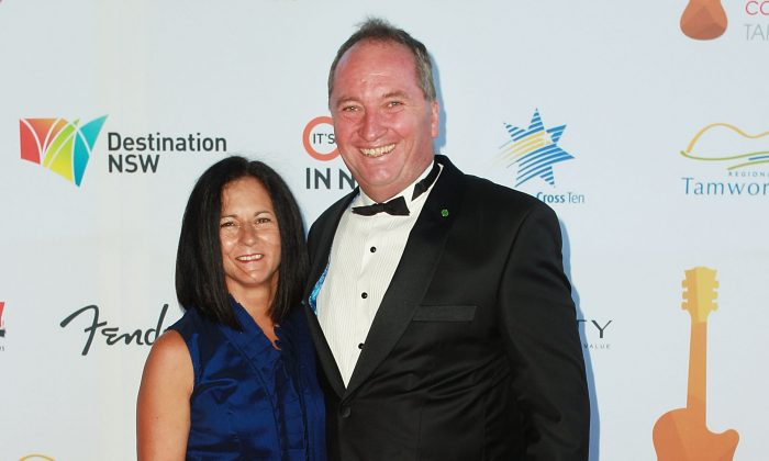 Barnaby Joyce and now estranged wife Natalie arrive at the 43rd Golden Guitar Country Music Awards of Australia on Jan. 24, 2015 in Tamworth, Australia.  (Lisa Maree Williams/Getty Images)