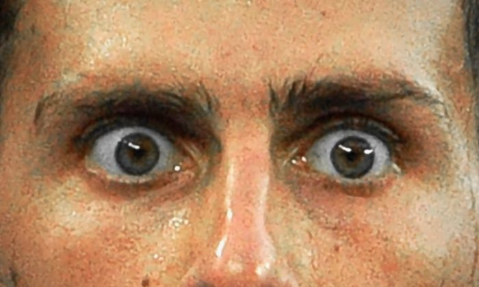 The eyes of Serbian tennis player Novak Djokovic a match at the Australian Open in Melbourne on Jan. 22, 2018. (Saeed Khan/AFP/Getty Images)