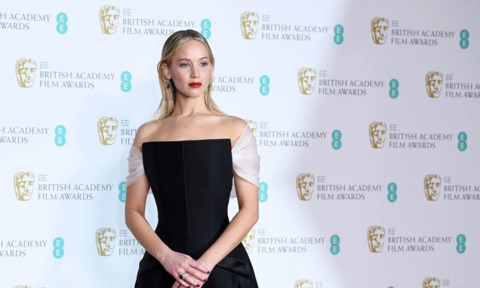 Actress Jennifer Lawrence poses in the press room during the EE British Academy Film Awards (BAFTA) held at Royal Albert Hall in London, England, on Feb. 18, 2018. (Jeff Spicer/Jeff Spicer/Getty Images)