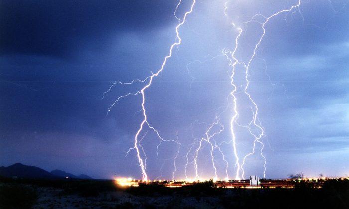 A lightning strike in a file photo. (U.S. Air Force photo by Edward Aspera Jr.)