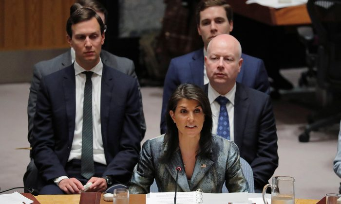 United States Ambassador to the United Nations (UN) Nikki Haley speaks in front of White House senior adviser Jared Kushner during a meeting of the UN Security Council at UN headquarters in New York, U.S., Feb. 20, 2018. (Reuters/Lucas Jackson)