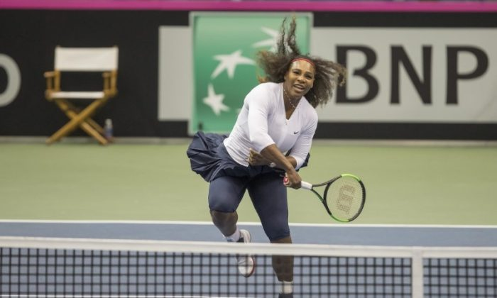 Serena Williams in action during her Fed Cup match with sister, Venus Williams (USA) (not pictured) at U.S. Cellular Center. (Susan Mullane-USA TODAY Sports)