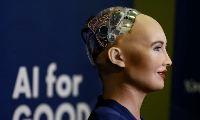 "Sophia, a robot integrating the latest technologies and artificial intelligence developed by Hanson Robotics is pictured during a presentation at the ""AI for Good"" Global Summit at the International Telecommunication Union (ITU) in Geneva, Switzerland June 7, 2017. (Reuters/Denis Balibouse)"