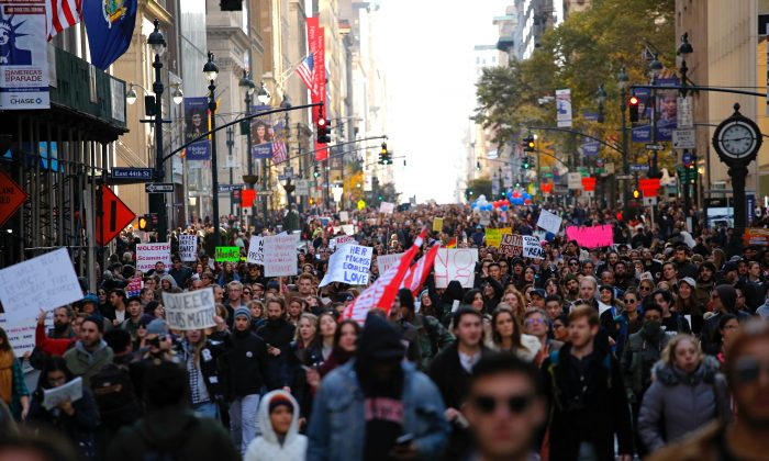 A protest against President-elect Donald Trump in Midtown Manhattan, New York, on Nov. 12, 2016. (KENA BETANCUR/AFP/Getty Images)