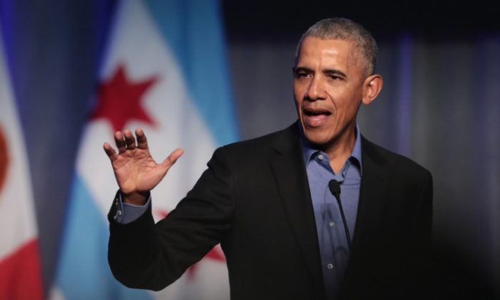 Former president Barack Obama speaks to a gathering of more than 50 mayors and other guests during the North American Climate Summit in Chicago on Dec. 5, 2017. (Scott Olson/Getty Images)