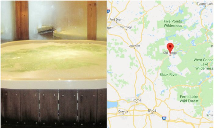 L: A file photo of a Jacuzzi. (Public Domain); R: Old Forge, N.Y. (Screenshot via Google Maps)