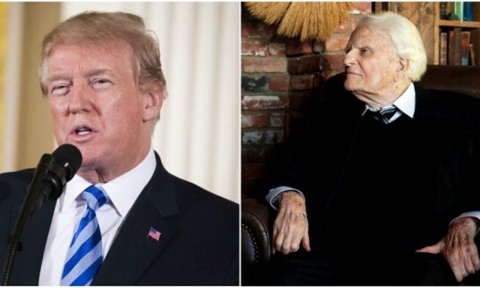 President Donald Trump (Samira Bouaou/Epoch Times) Reverend Billy Graham (JIM WATSON/AFP/GettyImages)