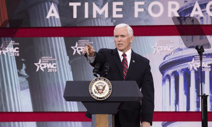 Vice President Mike Pence speaks during CPAC 2018 in National Harbor, Md., on Feb. 22, 2018. (Samira Bouaou/The Epoch Times)
