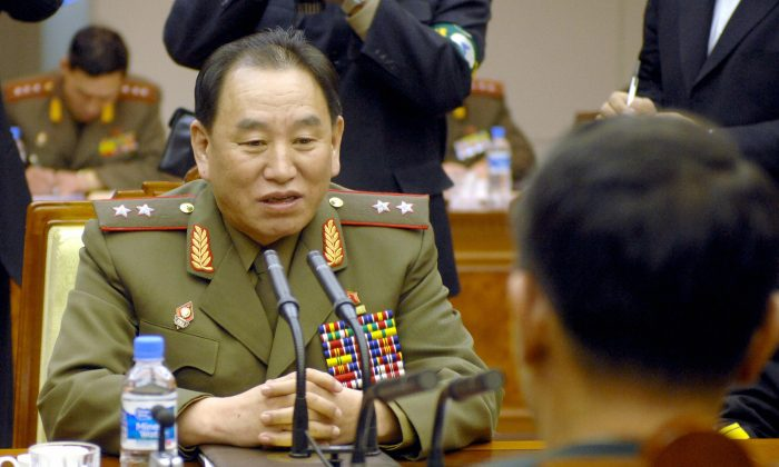 Kim Yong Chol (L) during the inter-Korean general's talks at the south side of the truce village of Panmunjom, in the Demilitarized Zone, on Dec. 14, 2007. (Jung Yeon-Je/AFP/Getty Images)