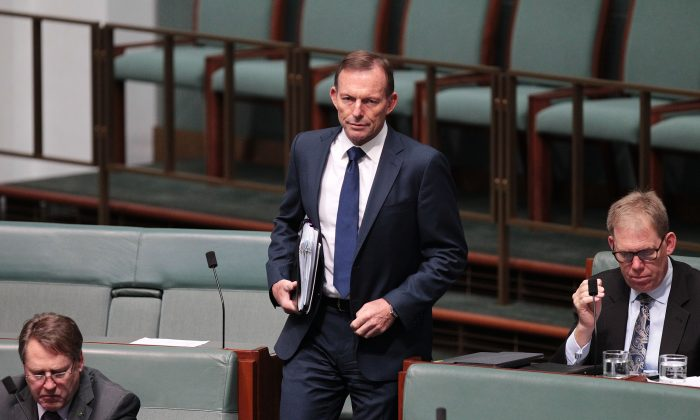 Tony Abbott arrives to House of Representatives question time at Parliament House on Oct. 25, 2017 in Canberra, Australia. (Stefan Postles/Getty Images)