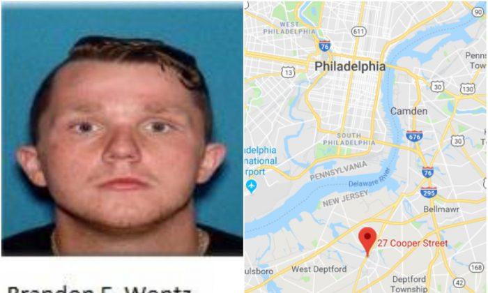 L: Branden Wentz (Woodbury City Police Department) and R: 27 Cooper Street, Woodbury, N.J. (Screenshot via Google Maps)