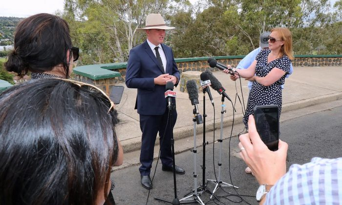 Barnaby Joyce, Australia's Deputy Prime Minister and Minister for Agriculture and Water Resources, speaks during a media conference in the town of Armidale, Australia Feb. 23, 2018.   (AAP/Marlon Dalton/via Reuters)