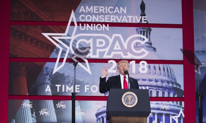 President Donald Trump addresses the Conservative Political Action Conference (CPAC) in National Harbor, Md., on Feb. 23, 2018. (Samira Bouaou/The Epoch Times)