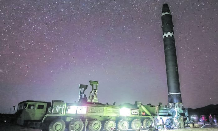 A Hwaseong-15 missile, which North Korea claims is capable of reaching all parts of the United States, on Nov. 26, 2016. (KCNA VIA KNS/AFP/GETTY IMAGES)