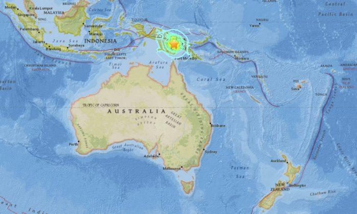Magnitude 7.5 earthquake stirkes 89km SSW of Porgera, Papua New Guinea on Feb. 26, 2018. (USGS)