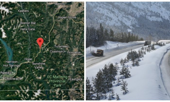 The Coquihalla Highway in British Columbia, Canada. (Google Maps); Winter on the Coquihalla Highway (British Columbia -Ministry of Transportation and Infrastructure)