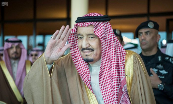 Saudi Arabia's King Salman bin Abdulaziz Al Saud gestures as he attends Janadriyah Festival, in Saudi Arabia, on Feb. 7, 2018. (Saudi Press Agency/Handout via Reuters)