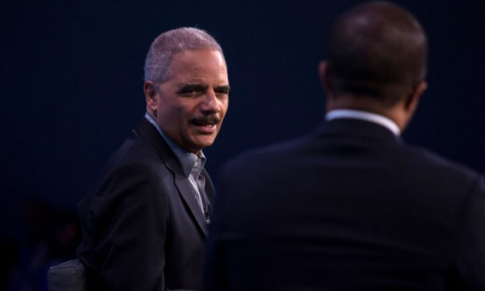 Former U.S. Attorney General Eric Holder speaks during an interview at the Washington Post on February 27, 2018 in Washington, DC. (Photo by Toya Sarno Jordan/Getty Images)