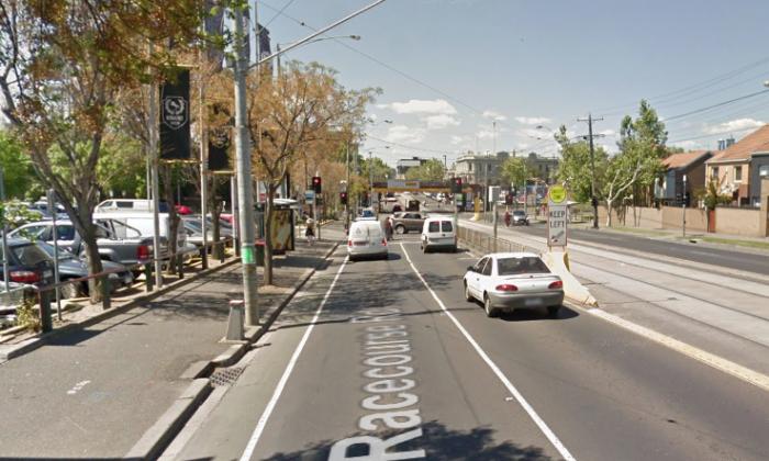 An elderly man was hit my a cyclist when he crossed Racecourse Road in Flemington, Victoria. (Screenshot via Google Maps)