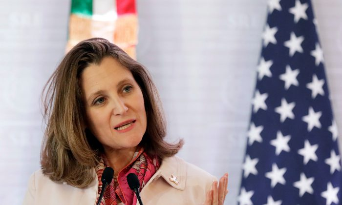 Canadian Foreign Minister Chrystia Freeland gives a speech during a news conference in Mexico City on Feb. 2, 2018. (Reuters/Henry Romero)