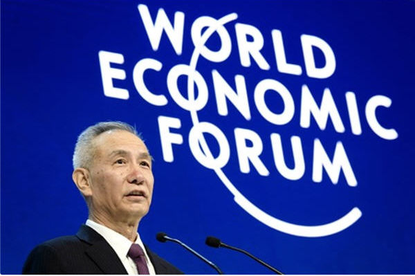 Liu He delivers a speech at the annual World Economic Forum (WEF) in Davos, Switzerland, on Jan. 24, 2018. (Fabrice Coffrini/AFP/Getty Images)