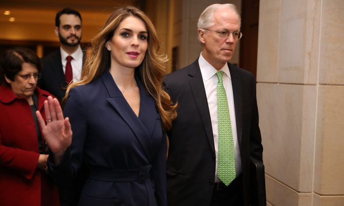 White House Communications Director Hope Hicks waves to reporters as she arrives at the U.S. Capitol to give testimony to the House Intelligence Committee on Feb. 27, 2018. (Chip Somodevilla/Getty Images)