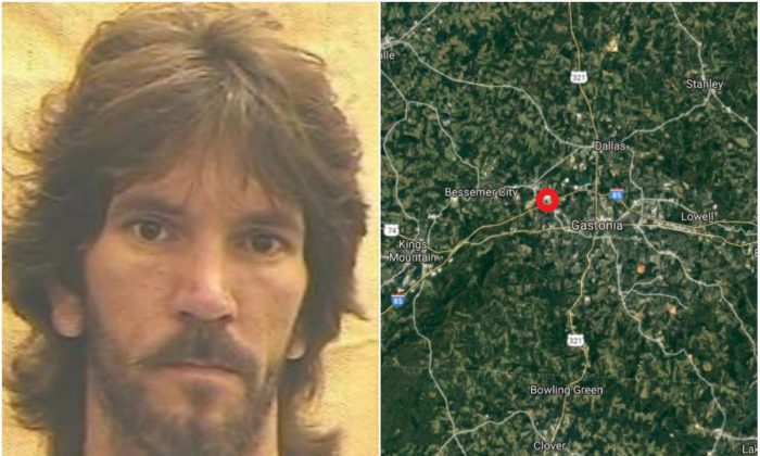 L: David Alan Woods.  (Gastonia Correctional Center). R: The approximate location where Woods died in a car crash in Gastonia, N.C., on Feb. 26, 2018, according to police. (Screenshot via Google Maps)