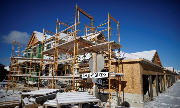 Houses are under construction in a new subdivision in East Gwillimbury in the Greater Toronto Area on Jan. 30, 2018. (Reuters/Mark Blinch)