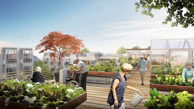 """An artist's conceptual rendition of the """"dementia village"""" in Vancouver, B.C. (Providence Health Care)"""