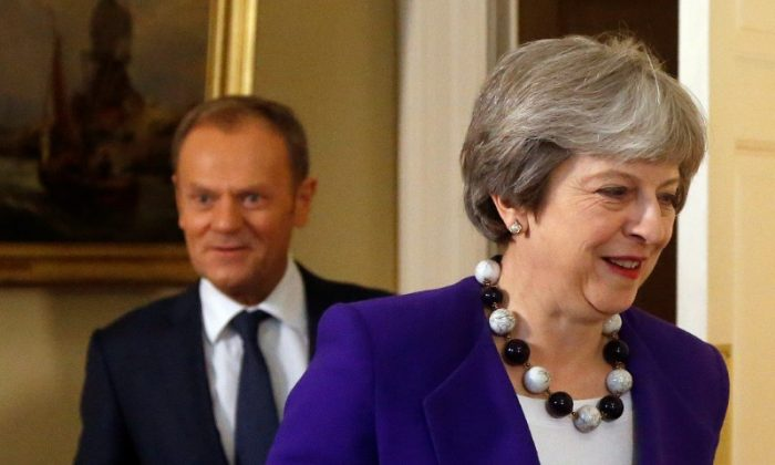 Britain's Prime Minister Theresa May meets with European Union Council President Donald Tusk at 10 Downing Street in London, Britain, on March 1, 2018. (Frank Augstein/Reuters)