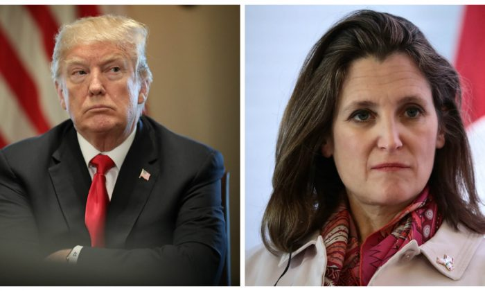 """U.S. President Donald Trump participates in a meeting with leaders of the steel industry at the White House on March 1, 2018 in Washington, D.C. (Win McNamee/Getty Images) - Chrystia Freeland, Canada's foreign affairs minister, seen here on Feb. 2, 2018 in Mexico City, Mexico, said trade restrictions on Canadian steel are """"absolutely unacceptable."""" (Hector Vivas/Getty Images)"""