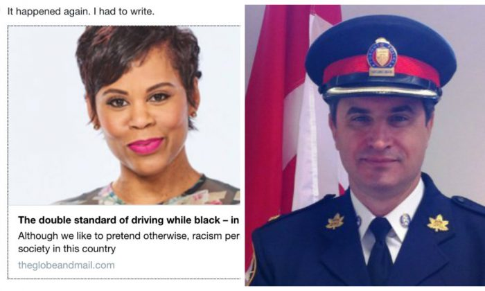"L: Screenshot of ""The Social"" co-host Marci Ien's tweet about her column in the Globe and Mail.  R: Toronto Police staff-supt. Mario Di Tommaso"
