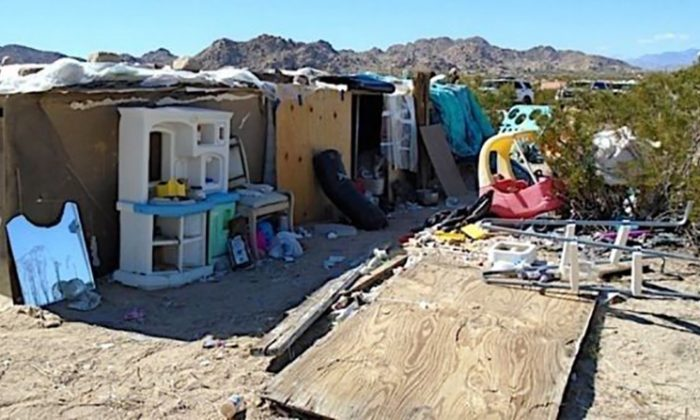 This makeshift shelter might have housed a family of five. (San Bernardino County Sheriff's Department, Morongo Basin Station)