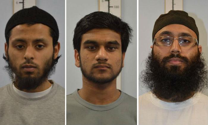 (L-R) Umar Ahmed Haque, Abuthaher Mamun and Muhammad Abid. (Metropolitan Police/Handout via Reuters)