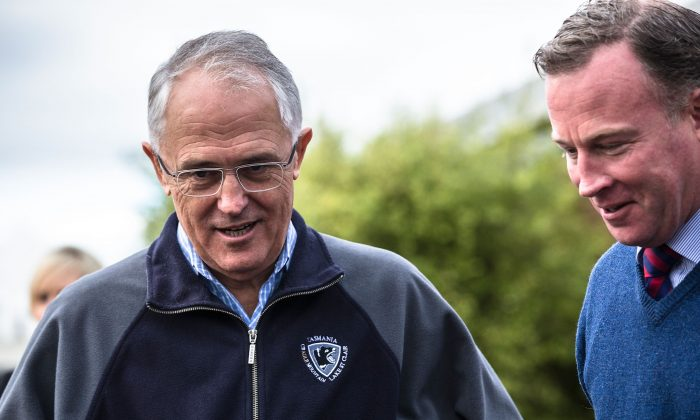 Prime Minister Malcolm Turnbull and Premier Will Hodgman visit flood devestated Latrobe in NW Tasmania on June 9, 2016 in Devonport, Australia. Severe storms caused extensive flooding across Northern Tasmania, with one confirmed death in Latrobe and two men still missing. (Heath Holden/Getty Images)