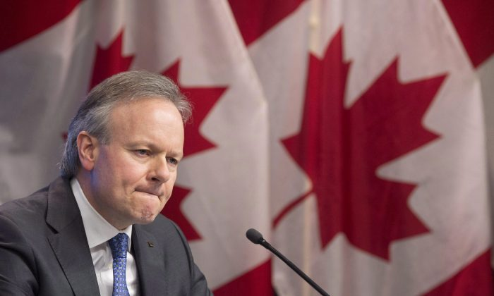 Bank of Canada Governor Stephen Poloz is seen during a news conference in Ottawa on Jan. 17, 2018. Canada's central bank left its key policy rate at 1.25 percent on March 7, 2018. (The Canadian Press/Adrian Wyld)