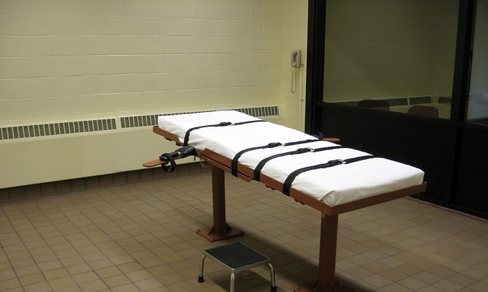 """The witness room facing the execution chamber of the """"death house"""" at the Southern Ohio Correctional Facility in Lucasville, Ohio, in November 2009. (Caroline Groussain/AFP/Getty Images)"""
