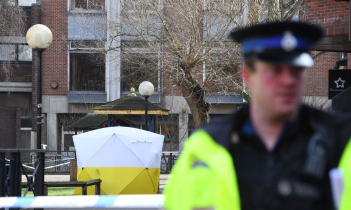 A police tent is seen behind a cordon at the scene at The Maltings shopping centre in Salisbury, southern England, on March 6, 2018 where a man and a woman were found critically ill on a bench on March 4 and taken to hospital sparking a major incident. (Chris J Ratcliffe/AFP/Getty Images)
