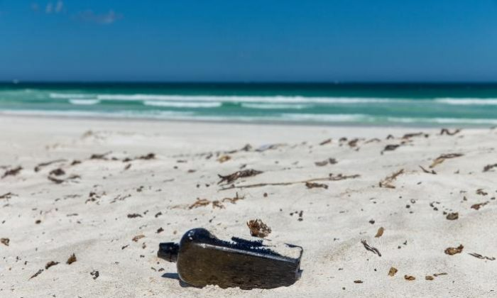 The oldest known message in a bottle discovered at Wedge Island, Western Australia. (KymIllman.com)