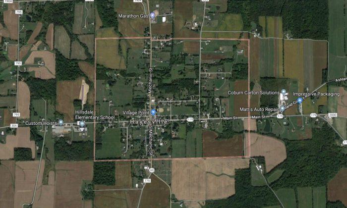 Hayesville, Ohio, in Ashland County, where Alyssa Edwards's 8-year-old son shot her 4-year-old daughter. (Screenshot via Google Maps)