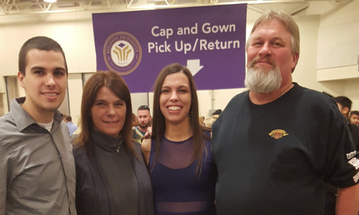L–R: Scott Root Jr., Michelle Root, Sarah Root, and Scott Root at Sarah's graduation ceremony on Jan. 30, 2016, just hours before she was killed. (Courtesy of Michelle Root)