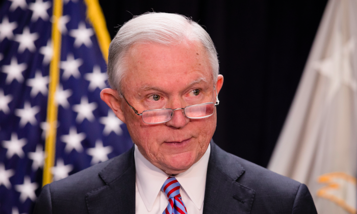 Attorney General Jeff Sessions at a press conference in Baltimore, Md., on Dec. 12, 2017. (Samira Bouaou/The Epoch Times)