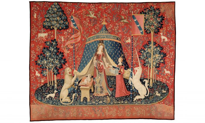 """My sole desire,"" circa 1500, from 'The Lady and the Unicorn' series. Wool and silk, 148 ½ inches by x 186 and ¼ inches.Musée de Cluny–Musée national du Moyen Âge, Paris. (RMN-GP/M Urtado)"