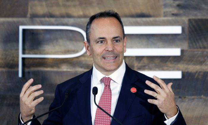 Kentucky Governor Matt Bevin speaks at the unveiling of a new $80 million Toyota engineering headquarters in Georgetown, Kentucky, on Oct. 30, 2017. Kentucky is home to Toyota's largest vehicle manufacturing plant in the world. (Bill Pugliano/Getty Images)