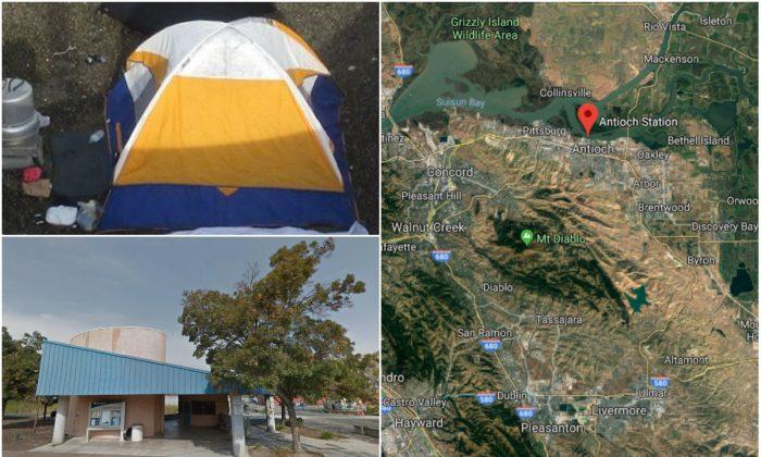 Top L: Hidden homeless camp in Antioch, Calif. (Antioch Police Department); Bottom L: Amtrak station in Antioch, Calif. (Google Street View); R: Amtrak station in Antioch, Calif. (Google Maps)
