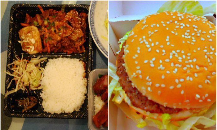 """Takeaway Dinner for Two"" (Alpha/Flickr);  ""Big Mac hamburger - Czech Republic"" (Karel Schmiedberger)"